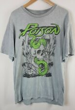 Poison Mens T Shirt Grey Large Size L Short Sleeved Crew Neck Rock Band