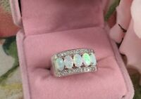 Vintage Jewellery White Gold Ring with Opals Sapphires Antique Deco Jewelry sz R