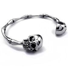 MENDINO Men's Stainless Steel Bracelet Skull Bone Skeleton Cuff Bangle Punk Rock