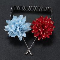 Mens Lapel Pins Flower Polka Dot Handmade Boutonniere Stick Brooch Pin Suit new.