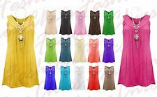 Women's Frill Gypsy Ladies Sleeveless Necklace Tunic V Neck Plus Size Top Vest
