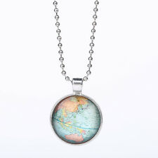Vintage Map Earth Globe World Cabochon Glass Necklace Pendant Ball Chain Gift