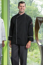 Uncommon Threads Chef Jacket PANAMA 0491 Black with White Piping size 2X-Large