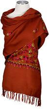 Pashmina Schal Orange hand bestickt hand embroidered 100% Wolle wool  stole