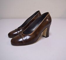 WALTER STEIGER Burnished Distressed Polished Brown Leather Cap Toe Pumps Size 6