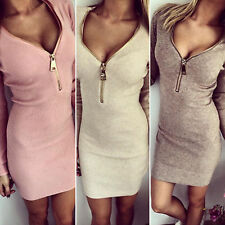 Women Long Sleeve Sweater Tops Winter Bodycon Party Mini Dress Jumper