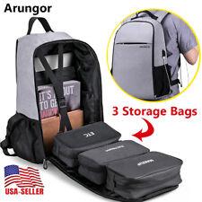Laptop Backpack With USB Charging Port Travel Shoulder Notebook School Bag Gray