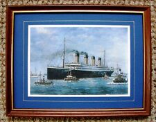 TITANIC FRAMED CARD PRINT TITANIC LEAVING SOUTHAMPTON FOR NEW YORK  by J.K.BYASS