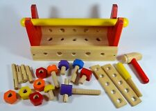 Children's Wooden Tool Box & Wooden Tools Screws Nuts Bolts Hammer (19 Pieces)
