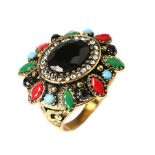 Vintage Style Colourful Stones Flower Unisex Women Large size Q 18 mm Ring FR265