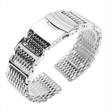 20/22/24mm Shark Mesh Stainless Steel Men Silver Bracelet Solid Watch Band Strap