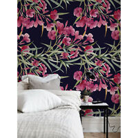 Dark Garden removable wallpaper Watercolor wall Wall Mural Flowers self adhesive