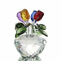 Mothers Day Gift Presents Gifts for Mum Flower Colorful Crystal Rose Paperweight