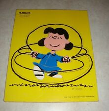 """Vintage Playskool Peanuts Lucy """"Jumping Rope"""" Wooden Tray Puzzle #230-12 -Estate"""