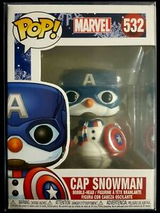 Marvel Funko Pop, Cap Snowman, Christmas Version, # 532 with PROTECTOR