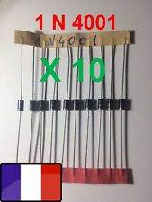 Lot 10 Diodes 1N4001 1A 50V DO41 Arduino Pi D.I.Y. Diode Redressement X 10