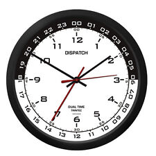"Trintec 10"" Dispatch Dual Time Clock DSP-03 Great For Pilots/Flight Plan Office"