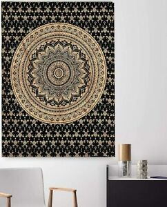 Ombra Mandala Tapestry Black & Gold Wall Hanging Tapestry,(POSTER (77X102CM)-68