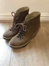 Stella McCartney Ankle Boots Wedge Lace Up Brown Suede Leather Size 4 Desert