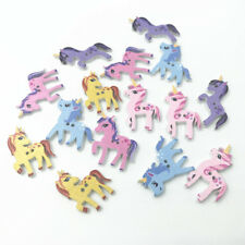50X Mixed Wooden Buttons Unicorn shape Scrapbooking Sewing Kid's crafts 25-29mm