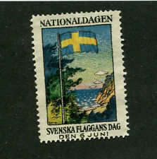 Vintage Poster Stamp Label SVENSKA FLAGGANS DAG 1927 Sweden Flag Day