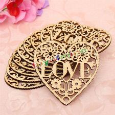 10x Laser Cut Decorative Heart Unfinished Wooden Shapes Craft Embellishments HOT