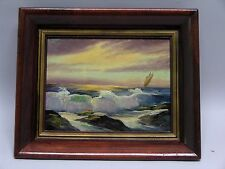 1930'S -50'S SEASCAPE WITH SAIL BOAT IMPRESSIONIST OIL PNTNG CARL ROTH NY ARTIST