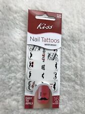 KISS Nail Tattoos Water Decals New 61201 DNT03 Mustache Theme 1 Pack of 16