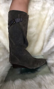 Nine West khaki suede leather, midcalf, wrapped style wedge heels boots.Size 7,5