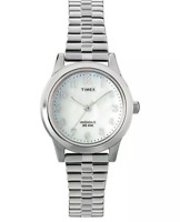Women's Timex Indiglow Expansion Band Watch - Silver Mother of Pearl T2M826JT