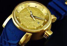 Invicta Men's S1 Yakuza Dragon 18K Gold IP Automatic NH35A SS BLUE Strap Watch