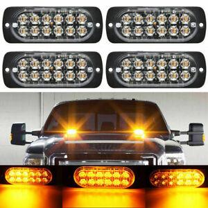 4 X12 LED Amber Truck Car Strobe Light Bar Emergency Beacon Warning Hazard