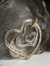 GENUINE / 375 WHITE & YELLOW GOLD LADIES TRIPLE HEART PENDANT WITH ZIRCONIA