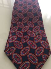 Vintage Gucci Mens Neck Tie Oval Print Logo Navy Blue Red Gold Silk