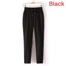 Women's Elastic Waist Casual Jogger Harem Pants Chiffon Pants Ladies Trousers J&
