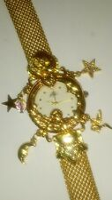 Kirks Folly Angel Time 15th Anniversity Gold Mesh Charms Watch NWOB