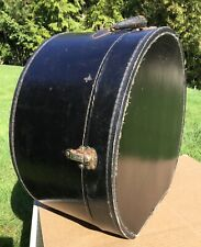 Antique Vtg Black Hat Box Train Case Luggage Suitcase with Leather Handle Nice!