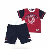 Completo con T-Shirt e Bermuda Rosso/Blu Neonato Sarabanda E704