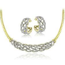 0.50ct TDW Diamond Weave Omega Necklace & Earrings Set - Gold Tone