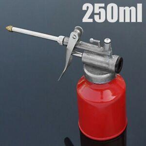 250ml Oil Can Pot Die Cast Body+Rigid Spout Thumb Pump Workshop Fresh Oiler US