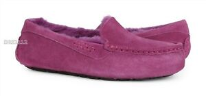 UGG Ansley Dark Dusty Rose Suede Fur Slippers Womens Size 10 *NIB*
