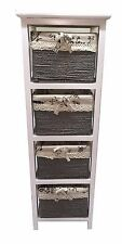 Maize Baskets Unit 4 Drawer White Wooden Slim Cabinet Storage Organiser Table