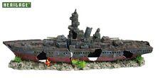 ✔ Heritage WS008BL Aquarium Fish Tank Warship Boat Ship Wreck Ornament XX/Large