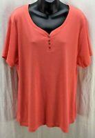 Karen Scott Top Plus 2X Orange Scoop Neck Short Sleeve Cotton Women New 5681