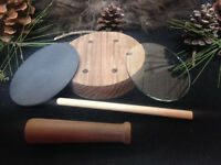 1-Custom Walnut Turkey Call Pot Call Kit Slate over Glass W/ Striker