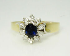 18ct (750, 18K) Yellow Gold Ladies Diamond and Natural Sapphire Cluster Ring