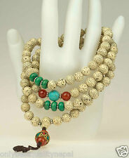 Soignée Rosaire Collier Graine De Lotus Nepal Turquoise Cornaline Rosario