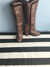 Next Brown Leather Knee High Boots Size 4
