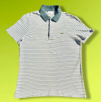 "Vintage Lacoste Striped Polo Shirt Regular Fit Size 4 Medium Large P2P 20"""