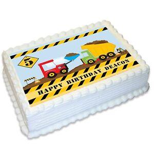 Construction Dump Truck A4 Edible Icing Cake Topper